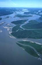 Yukon, elv, sommer, antennen perspektiv