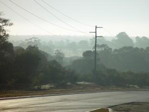 beach, road, layered, scenery, fog