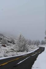 lava, beds, road, hoar, frost