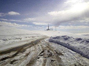 neigeux, route, colline