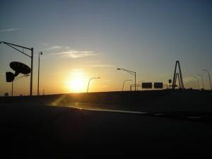 sud, Caroline, coucher de soleil, route