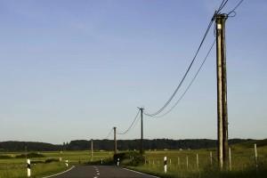 téléphone, ligne, route