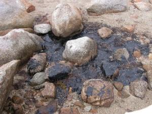 olio, fuoriuscita, rocce
