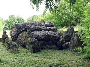 rocks, green, field