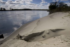 large, gray, sand, dune, shoreline, river