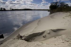 large, gray, sand, dune, shoreline, river