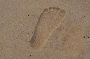 stopa, piesok