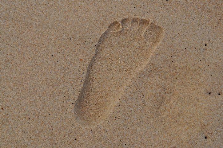 footprint, sand