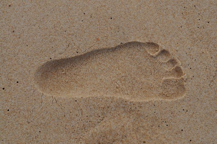 empreinte, humide, sable