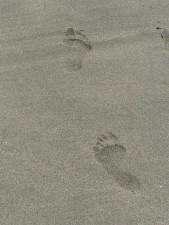 footprints, human, beach, sand