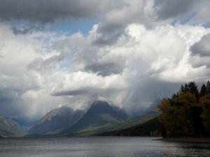 cloudy, fall, day, lake