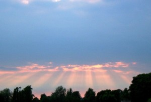 lumières, trought, nuages