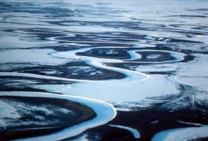 aerial, frosen, river, winter