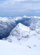 mountains, blue sky, snow