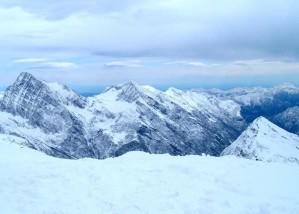 montagnes, couvert, neige