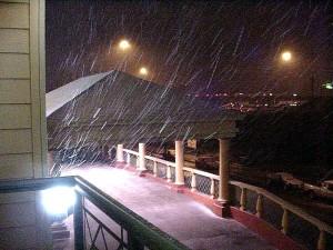 snow, night