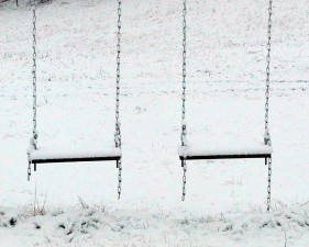 snow, covered, swings, waiting, spring