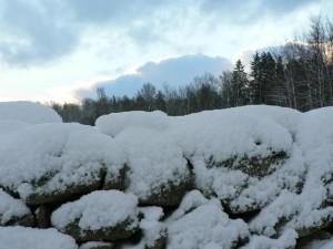 pedra, parede, neve