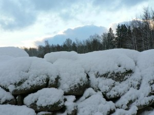 stone, wall, snow