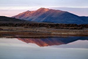 le lever du soleil, lac, montagnes, fond, reflété, lac