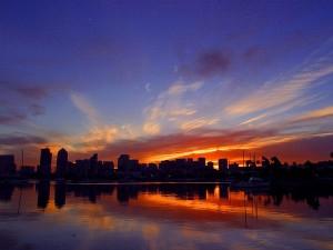 sunrise, bay