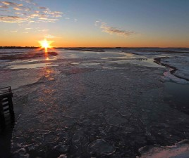 sunrise, frozen, river