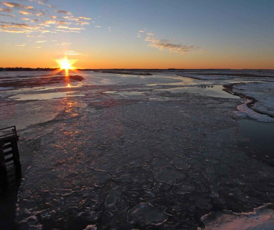 sunrise, frozen, river