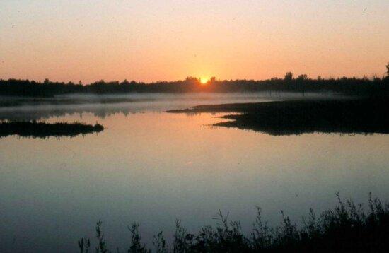 sunrise, marsh land, lake, Sun