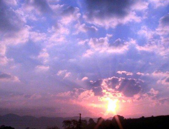 sunrise, mountain, purple, sky, clouds