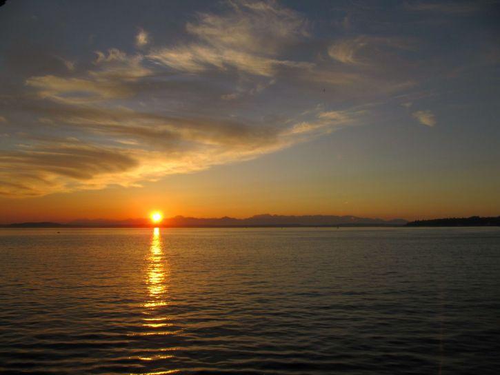 sunrise, water, Seattle