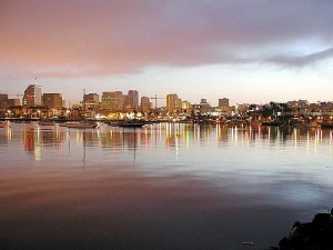 water, bays, lights, city, sunrise
