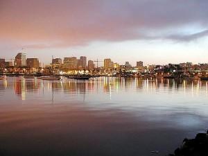 water, bays, lights, city, sunrise