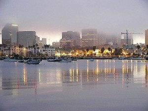 water, bays, sailboats, foggy, skyline, sunrise