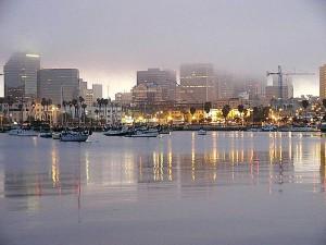 water, bays, sailboats, foggy, skyline, sunrise
