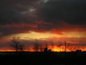 Alberta, puesta del sol, noche, cielo