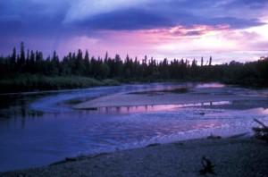 aniak, river, sunset