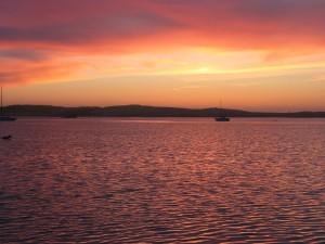 paysage, baie, l'eau de mer, coucher de soleil, l'été