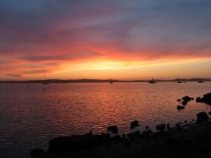 coucher du soleil, baie, rouge, jaune, coucher de soleil, océan, nuages