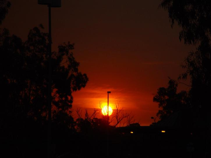 feux de brousse, coucher de soleil