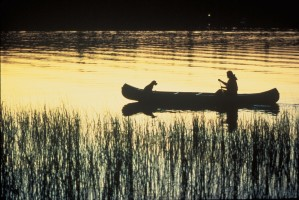 canoeing, sunset