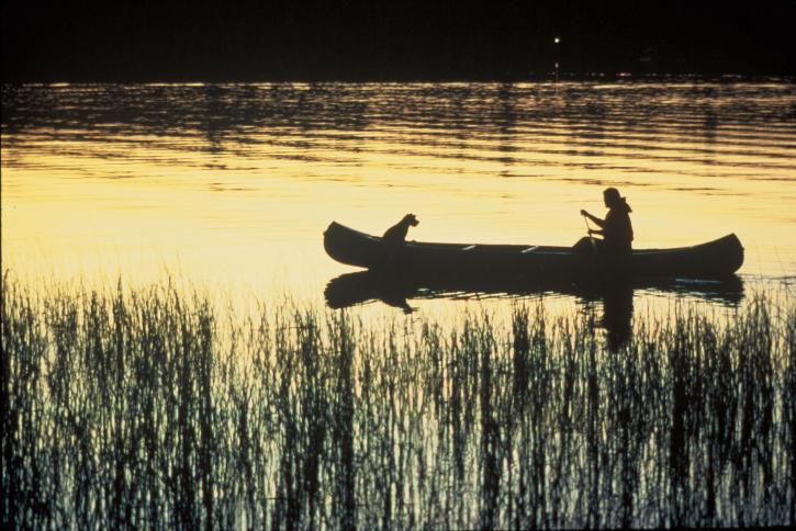 canoa, tramonto