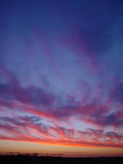 currambine, залез слънце, спрей, облаци, западната, Австралия