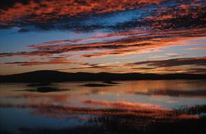 dramatique, coucher de soleil, paysage