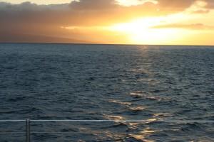 hawaïen, coucher de soleil, paysage