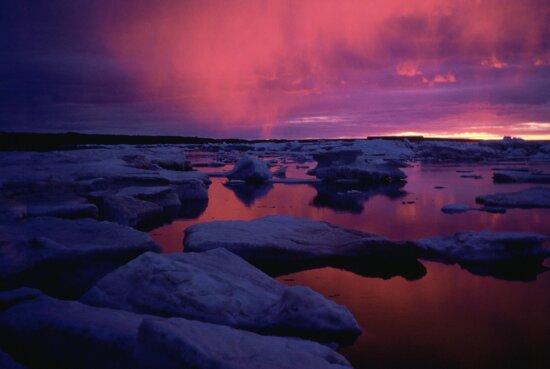 Hudson, bay, západ slnka, Kanada