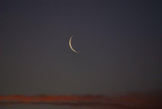 nový mesiac, západ slnka