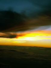 Orange, kekuningan, sunset, gelap, awan
