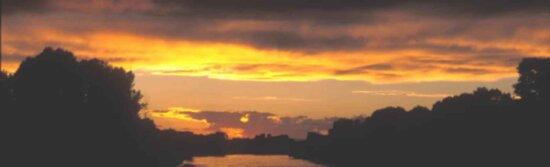 panoramic, image, sunset, lake