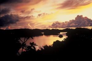 paradise, sunset