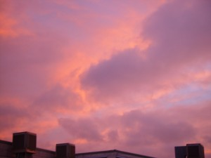 pink, clouds, sunset